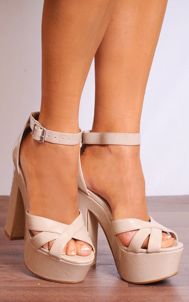 Nude Patent Barely There Strappy Sandals High Heels Platforms by Shoe Closet