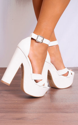 White Barely There Strappy Sandals High Heels Platforms by Shoe Closet