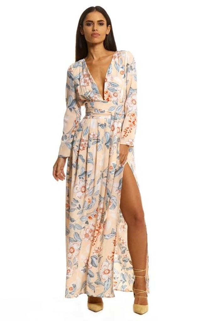 Yoko Floral Side Split Maxi Dress by Neon Rose