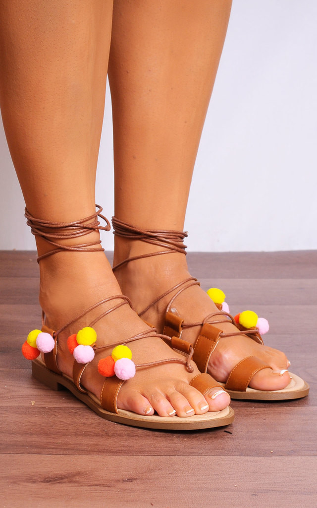 Tan Multi Colour Pom Pom Flat Lace Ups Gladiator Sandals by Shoe Closet