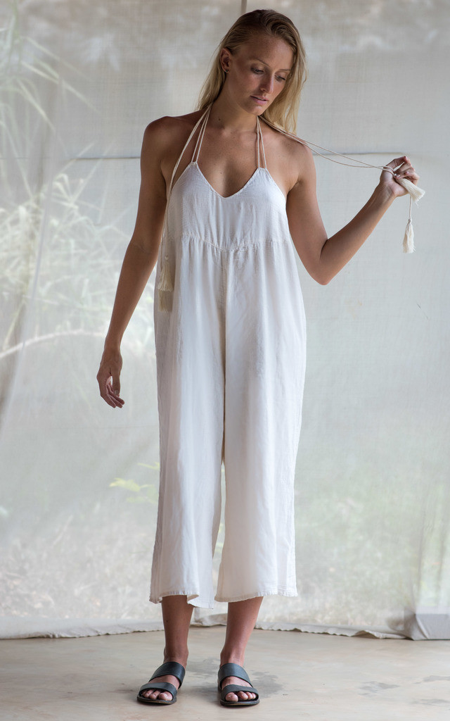 HALTER JUMPSUIT IN MUSLIN COTTON by TIA