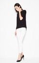 Black asymmetrical top shirt with short sleeves with a spectacular neckline on the back by Venaton