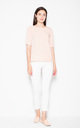 Pink asymmetrical top shirt  with short sleeves with a spectacular neckline on the back by Venaton