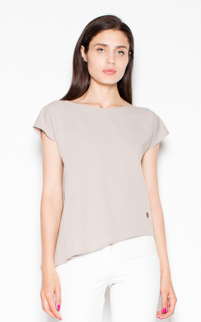 Beige asymmetrical top shirt with loose short sleeves by Venaton