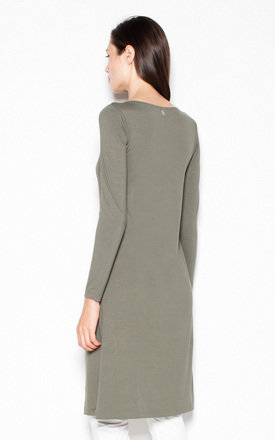 Khaki long top with a slit on the side by Venaton