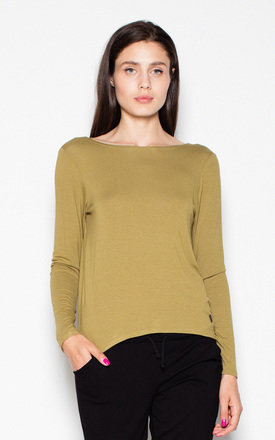 Olive green top with a spectacular neckline at the back by Venaton