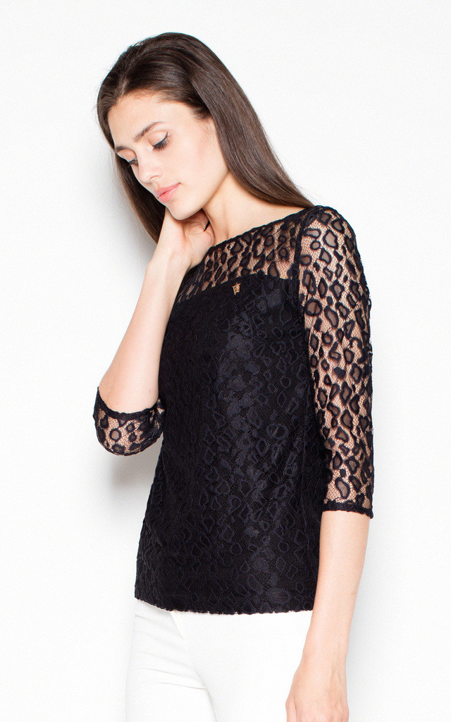Black lace top with 3/4 sleeves by Venaton