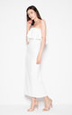 White Dress with ruffles at the neckline by Venaton