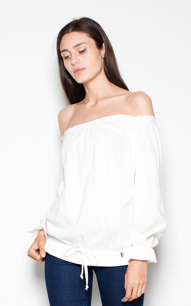 Ecru top with ruffles by Venaton