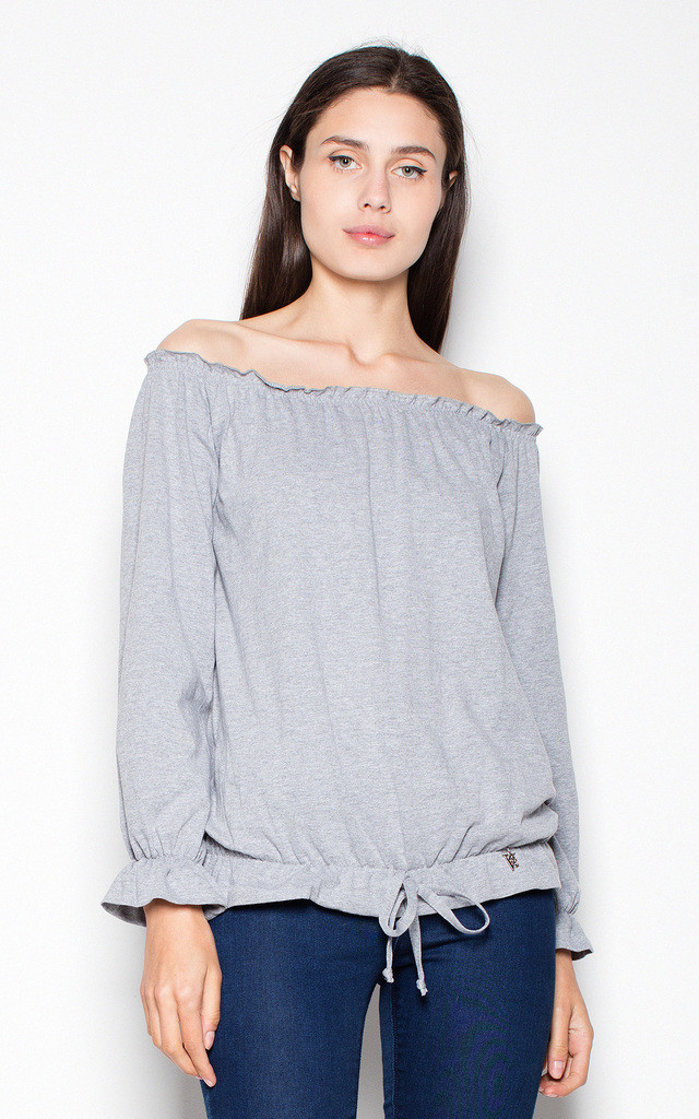 Grey top with ruffles by Venaton