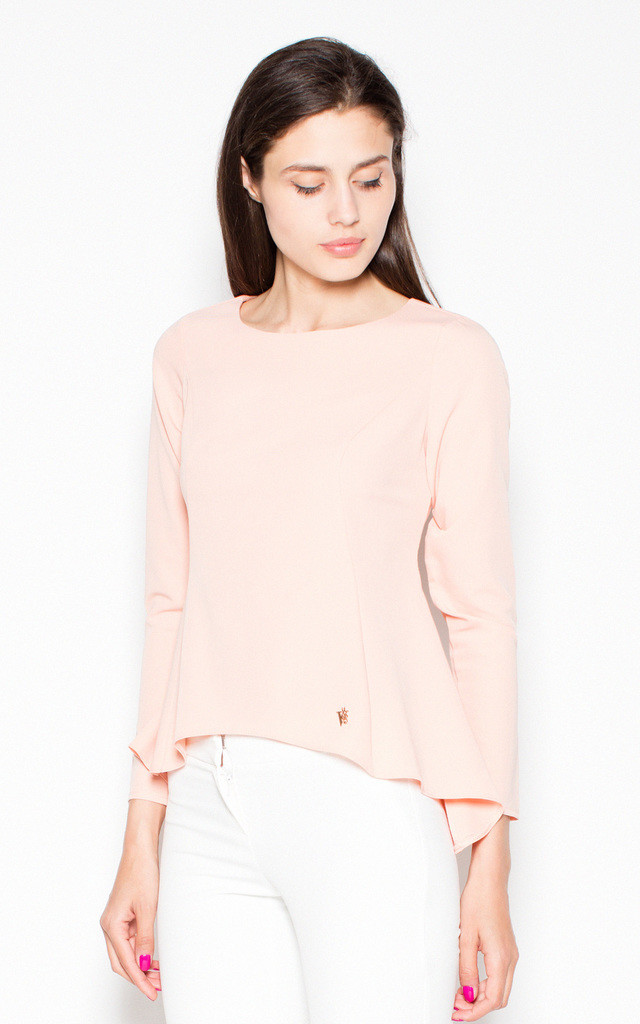 Pink asymmetrical long-sleeved top by Venaton