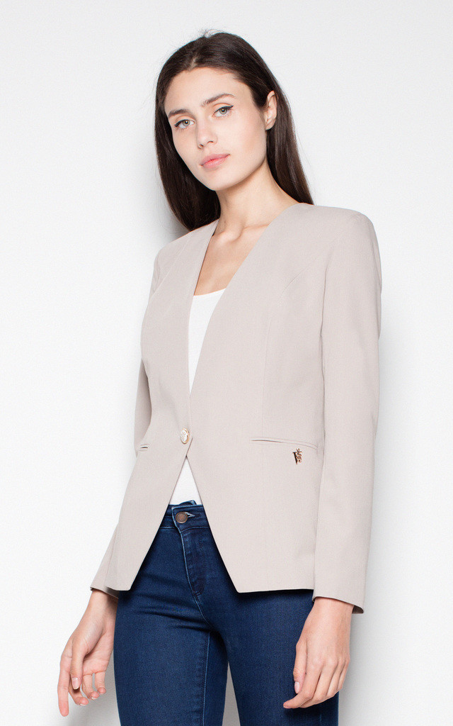 Beige Jacket fastened with one button by Venaton