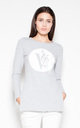 Grey cotton top with an imprint by Venaton