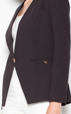 Black Jacket fastened with one button by Venaton