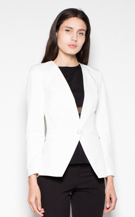 White Jacket fastened with one button by Venaton