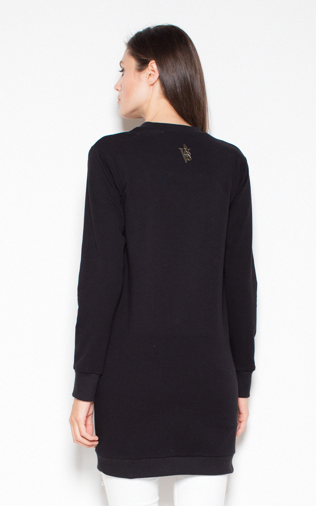 Black longer top with an original imprint by Venaton