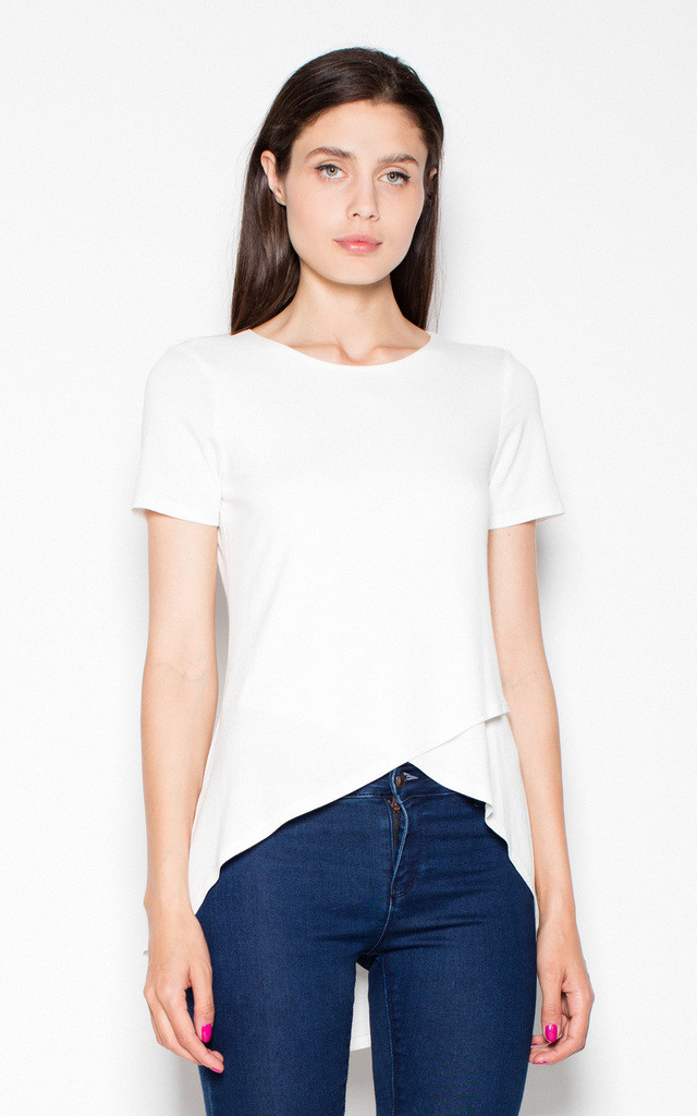 White Overlap top shirt by Venaton