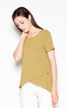 Olive Overlap top shirt by Venaton
