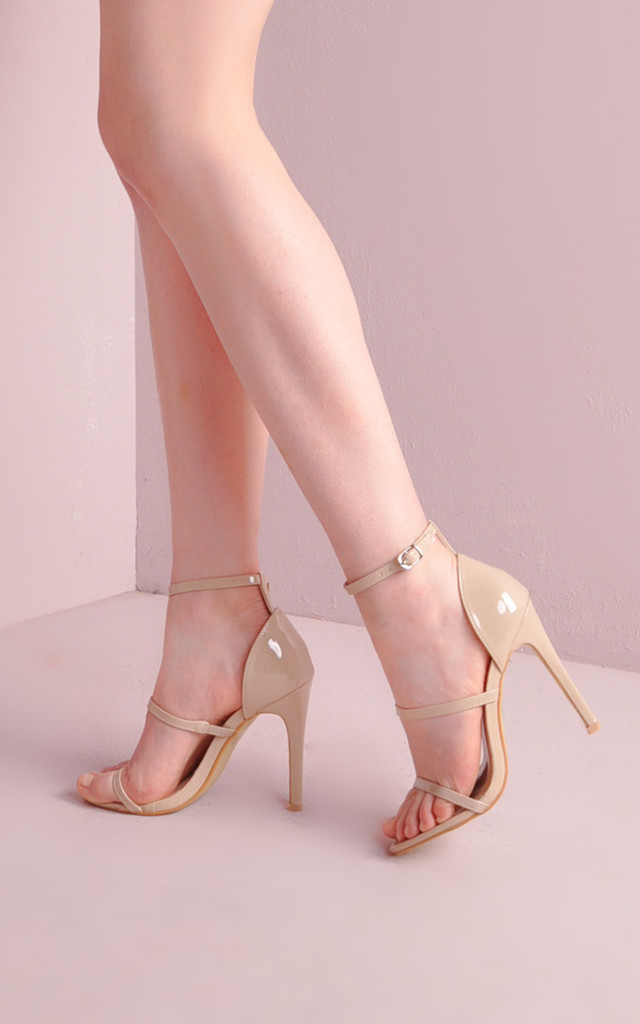 Three Straps Barely There Stiletto Sandals Nude by LILY LULU FASHION