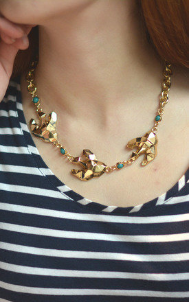 Origami Swallow Bird Statement Necklace by Silver Rain