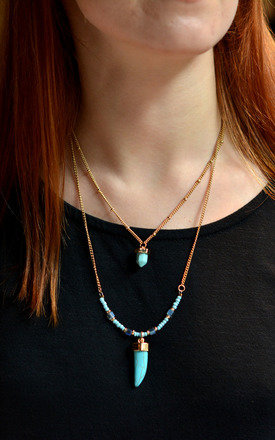 Layer Necklace with Turquoise Beads and Horn Charm by Silver Rain