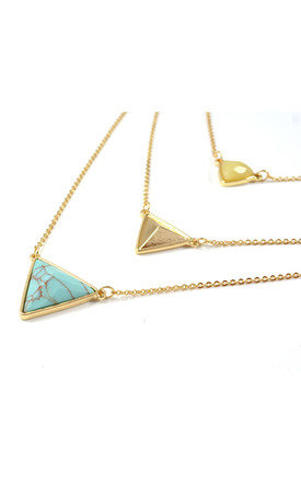 Three Layered Triangle Geometry Turquoise Pyramid Necklace by Silver Rain