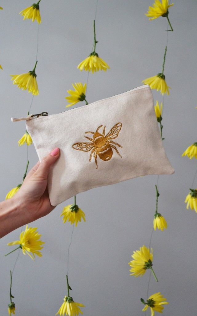 Golden Bee embroidered Natural make-up, accessory,purse bag by Emma Warren