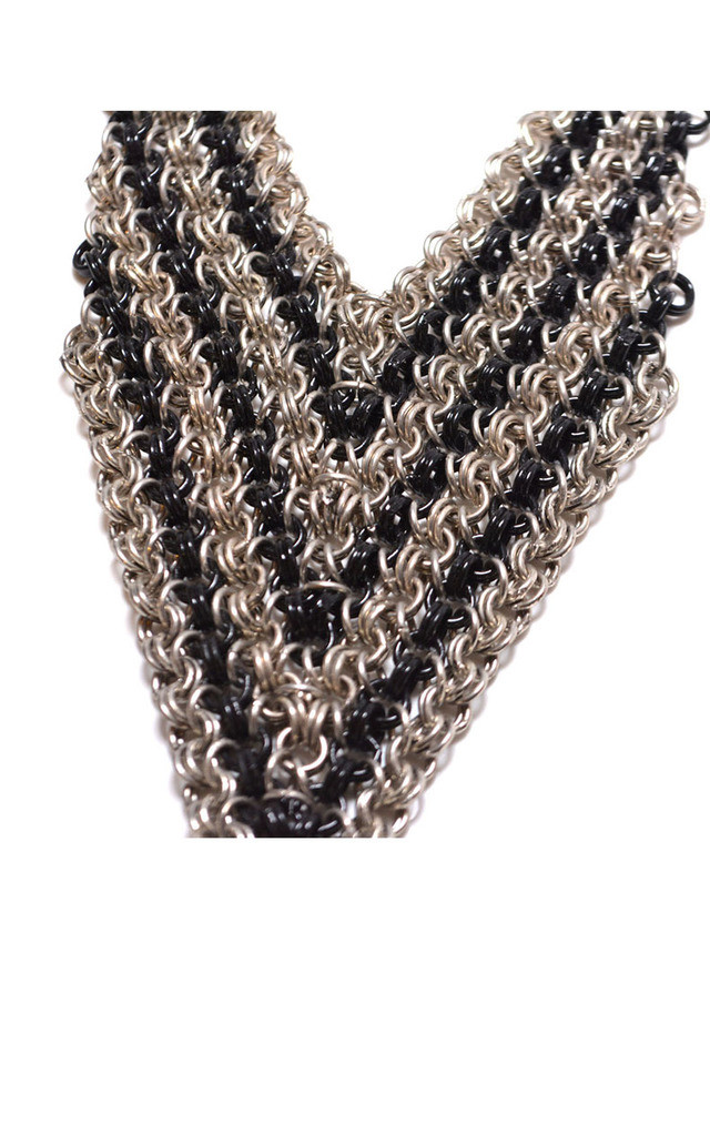 Silver and Black Mesh Statement Necklace by Silver Rain