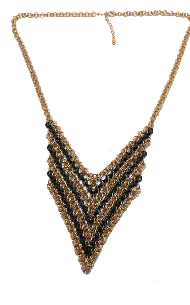 Black And Gold Metal Mesh Statement Necklace by Silver Rain