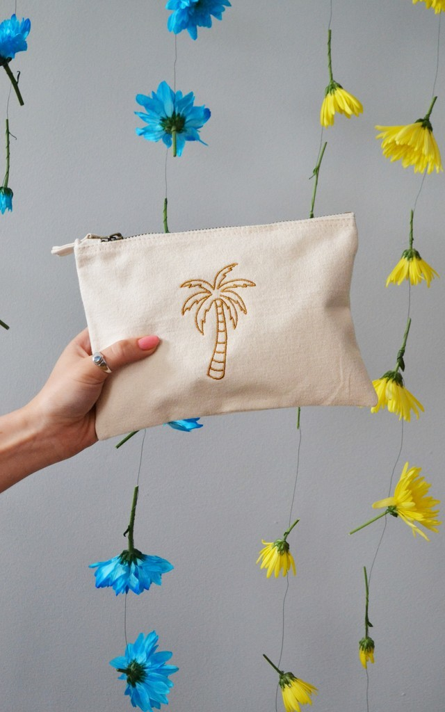 Golden palm embroidered Natural make-up, accessory,purse bag by Emma Warren