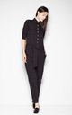Black jumpsuit with a waist strap by Venaton