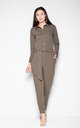 Khaki jumpsuit with a waist strap by Venaton