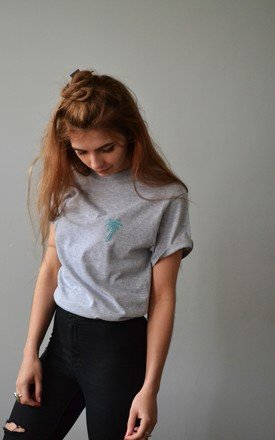 embroidered grey palm tee by Emma Warren