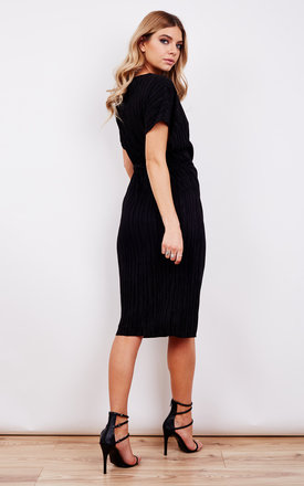Pleated Black Midi Dress by URBAN TOUCH