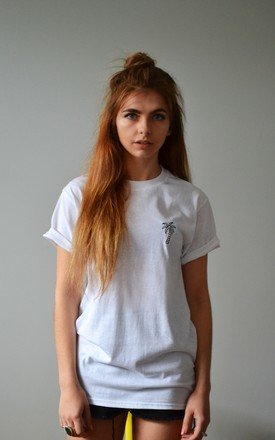 embroidered palm t-shirt in white by Emma Warren