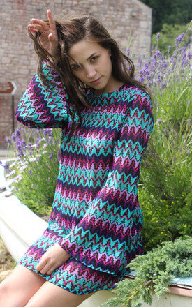 70' Inspired Bell Sleeve Multicoloured Crochet Shift Dress by Lily and the Lamplight