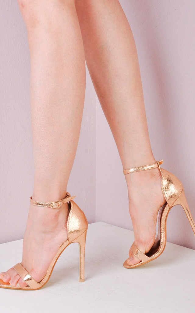 Strapped Barely There Heeled Sandals Rose Gold by LILY LULU FASHION
