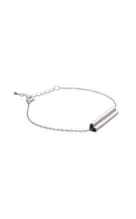 Heart Bar Bracelet In White Gold by DOSE of ROSE