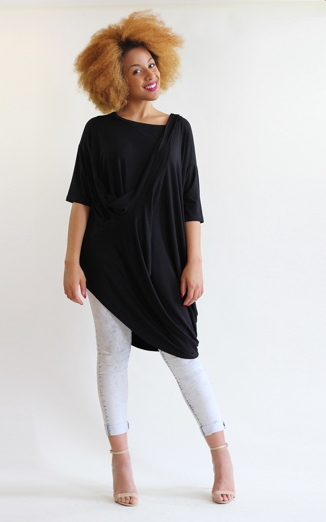 Roxie Draped Oversize Asymmetric Top by LagenLuxe