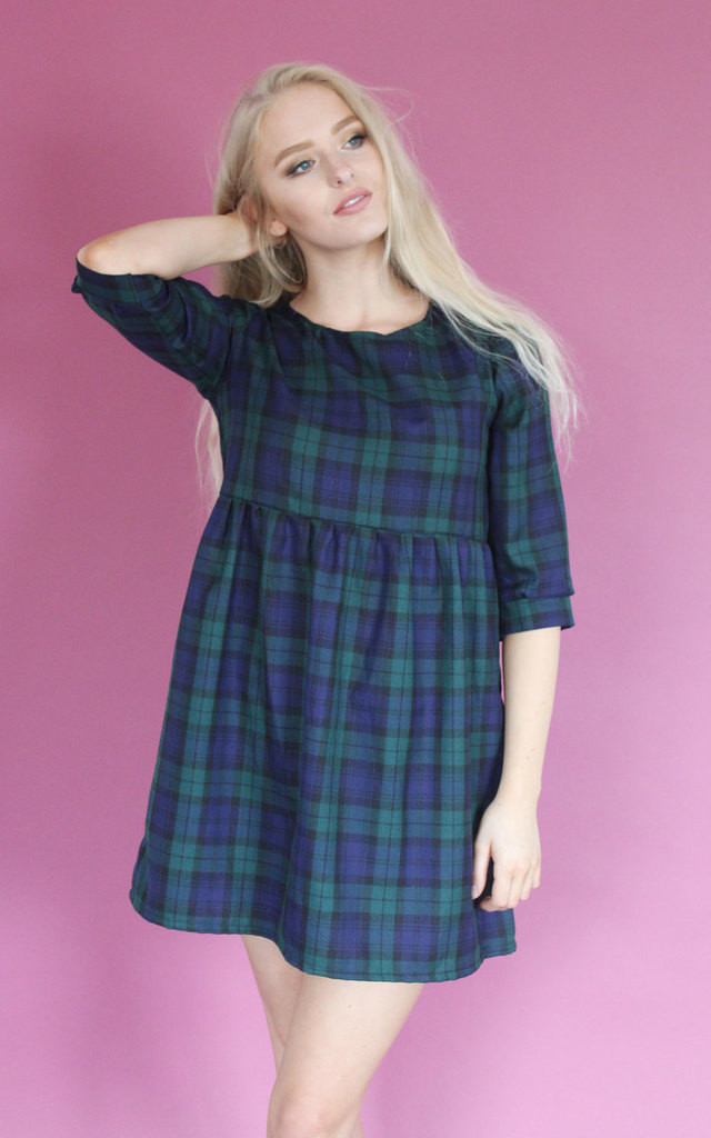 Navy Tartan Cuffed Smock Dress by Vintage Style Me