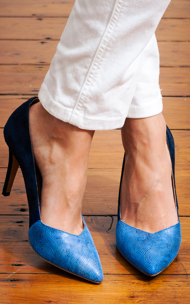 Blue Comfortable Classic Pointed Court Heel by House of Spring