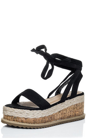 POPPY Espadrille Gladiator Sandals Shoes - Black Suede Style by SpyLoveBuy