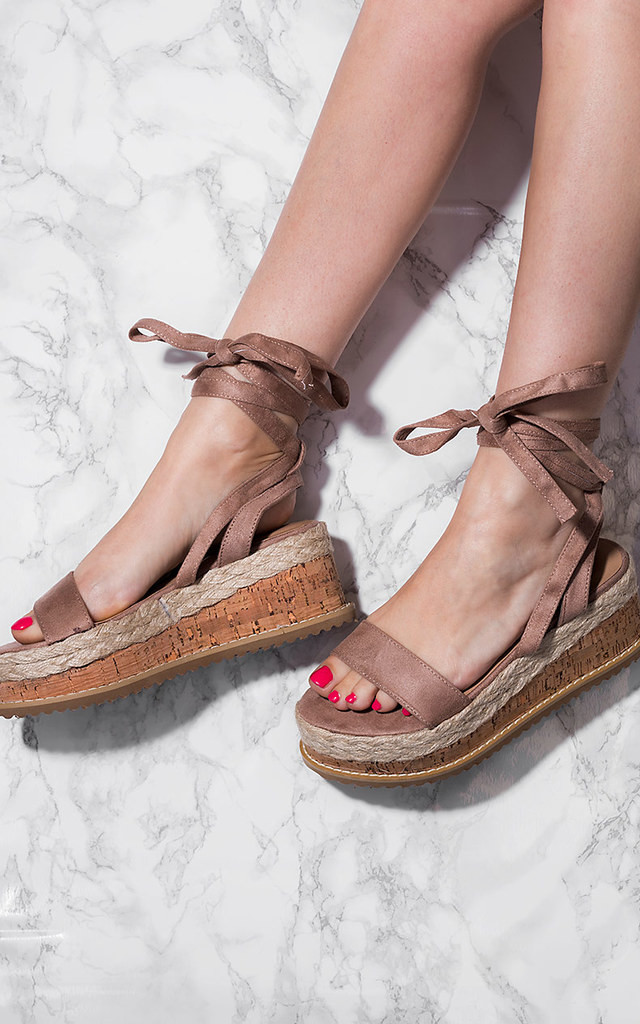 POPPY Espadrille Gladiator Sandals Shoes - Brown Suede Style by SpyLoveBuy