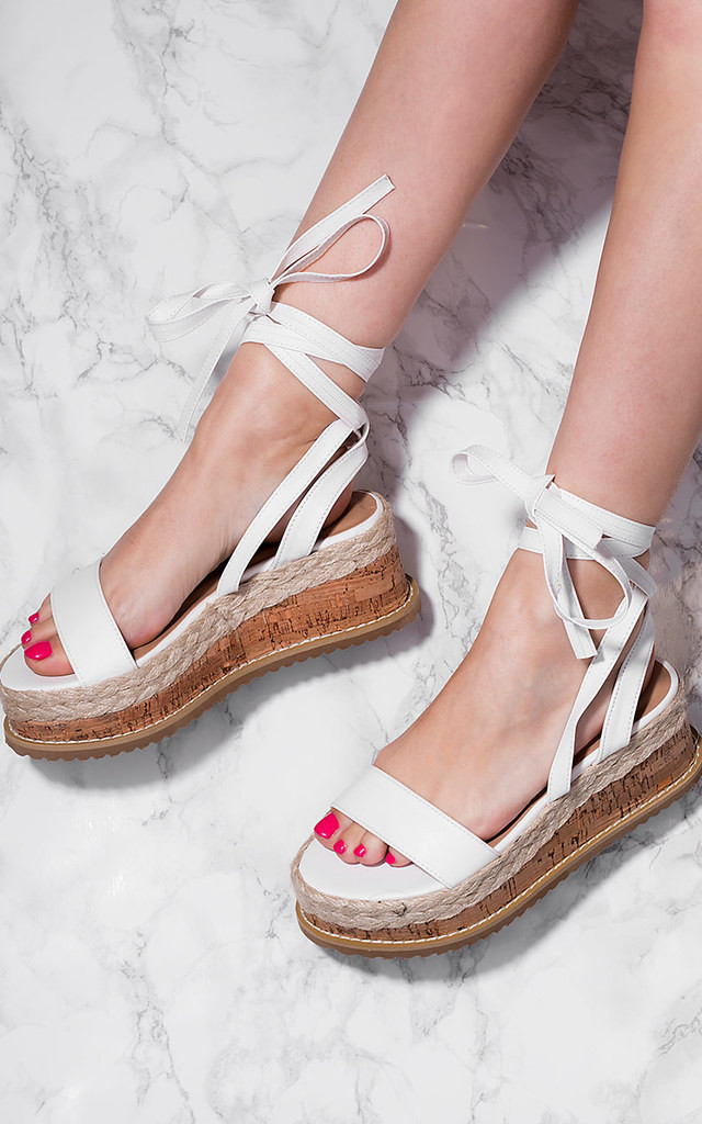 POPPY Espadrille Gladiator Sandals Shoes - White Leather Style by SpyLoveBuy