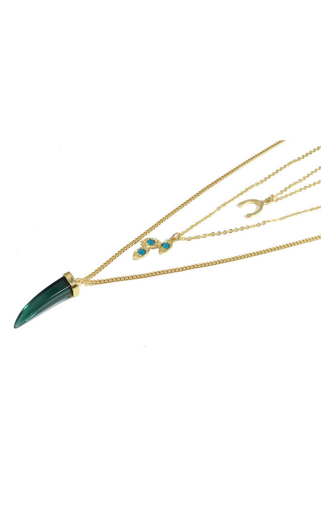 Three Layer Necklace with Crystal Wish Bone,horn and Leaf by Silver Rain