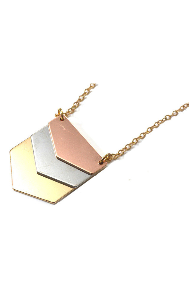Chevron Triangle Three Tone Necklace by Silver Rain