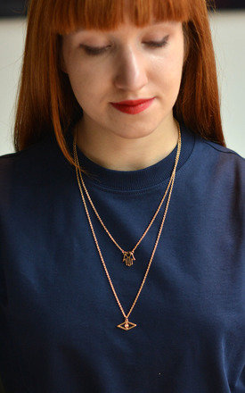 Double Layer Hamsa Charm Necklace by Silver Rain