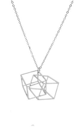 Optical Illusion 3D Locked Cubes Geometric Necklace by Silver Rain