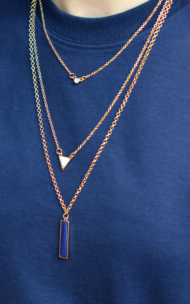 Three Layer Bar Triangle Necklace by Silver Rain