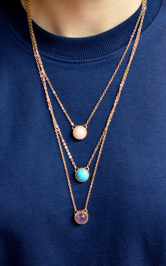 Three Layered Multiple Gemstone Necklace by Silver Rain